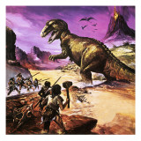 Cavemen, Dinosaur and Volcano - for an Article About Special Effects Giclee Print by Gerry Wood