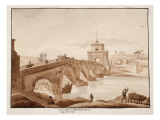 The Restoration of Ponte Milvio by Pope Pius Vii, 1833 Giclee Print by Agostino Tofanelli