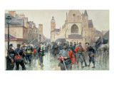 A Gathering of the Garibaldini and French Troops at Tours Giclee Print by Ludovico Marchetti