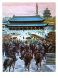 Marco Polo, with His Father and Uncle, Approaching the Palace of the Great Khan Giclee Print by Graham Coton