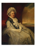 Portrait of Mrs. Uppleby Wearing a White Dress and Bonnet with a Black Shawl Giclee Print by  Romney