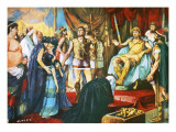 Alexander the Great Receiving Darius&#39;s Wife, Mother and Daughters Giclee Print by Alberto Salinas