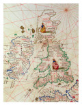 The Kingdoms of England and Scotland, from an Atlas of the World in 33 Maps, Venice Reproduction proc&#233;d&#233; gicl&#233;e par Battista Agnese