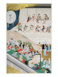 Scene of Japanese Popular Theatre During the Genroku Period Giclee Print by Hishigawa Moronobu
