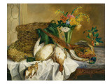 Still Life of Ducks, Pheasant and Flowers, 1855 Giclee Print by Emily Stannard