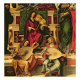 Detail of Angel Musicians from a Painting of the Virgin and Child on a Throne Giclee Print by  Montagna