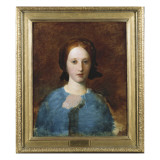 Portrait of Mrs. Prescott Decie, Bust Length, in a Blue Dress - a Sketch Giclee Print by George Frederick Watts