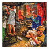 Galen Trying to Rescue His Manuscripts During the Great Fire of Rome in Ad 191 Giclee Print by Clive Uptton
