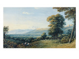 Figures Resting on a Hillside with a Church Spire Beyond, 1825 Giclee Print by John Varley