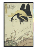 A Okubi-E Portrait of a Courtesan Representing the Hagi or Noki River Giclee Print by Kitagawa Utamaro