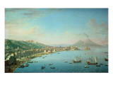 Naples from the Bay, with Mt. Vesuvius in the Background Giclee Print by Antonio Joli