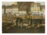 The New Market in Berlin with the Marienkirche C.1770 Giclee Print by Carl Traugott Fechhelm