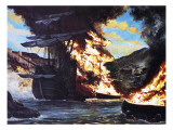 Destruction of Sir John Hawkins&#39; Ships in the Port of San Juan D&#39;Ulloa Giclee Print by Oliver Frey