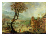 An Extensive Landscape with Building Work in Progress by an Inn Reproduction proc&#233;d&#233; gicl&#233;e par Adam Pancratz Ferg or Ferch