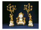 Garniture Retailed by Black, Starr and Frost Comprising a Mantel Clock Giclee Print by  French School