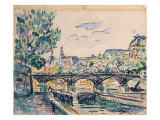 Bank of the Seine Near the Pont Des Arts, with a View of the Louvre Giclee Print by Paul Signac