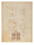 Studies for Architectural Composition in the Form of a Triumphal Arch, C.1516 Giclee Print by  Michelangelo Buonarroti