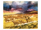 Settlers on a Land Race into Indian Territory Giclee Print by Ron Embleton