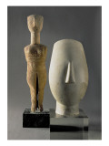 (Lto R) Figurine with Crossed Arms, Cycladic; Head of a Woman, Fragment of a Statue Giclee Print