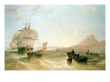 Squadron of Frigates and Fishing Vessels in a Choppy Sea Off Holy Island Giclee Print by John Wilson Carmichael