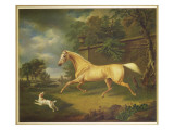 A Palomino Frightened by an Approaching Storm with a Spaniel Giclee Print by Charles Towne