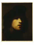 Portrait of the Artist, Head and Shoulders, in a Black Beret and a Gorget Giclee Print by  Rembrandt van Rijn