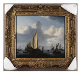 A Seascape with a States Yacht and Other Shipping in a Calm, 1654 Gicl&#233;e-Druck von Willem Van De, The Younger Velde