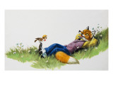 Bird Perching on the Foot of a Fox, Illustration from 'Brer Rabbit' Giclee Print by Virginio Livraghi