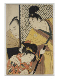 The Young Samurai, Rikiya, with Konami and Honzo Partly Hidden Behind the Door Giclee Print by Utamaro Kitagawa