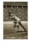 Jesse Owens at the Start of the 200m Race at the 1936 Berlin Olympics Giclée-tryk