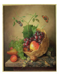A Basket of Grapes and Apples on a Marble Ledge Giclee Print by Willem Verbeet