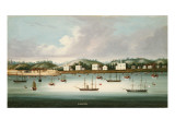 A View of Singapore from the Roads with American, French and British Shipping, C.1850 Giclee Print by  Chinese School