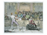 The Chevalier D'Eon, Dressed as a Woman, in a Fencing Match Giclee Print by  English School