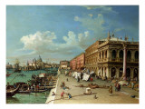 View of the Molo Looking Towards the Entrance of the Grand Canal, Venice Giclee Print by William James