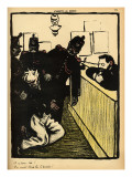 Three Policemen Bring a Man Beaten Black and Blue into the Police Station Giclee Print by Félix Vallotton