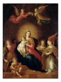 The Virgin and Child with Musicmaking Angels Premium Giclee Print by Frans Francken the Younger