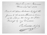 Copy of the Pass Carried by John Andre, Signed by Benedict Arnold Giclee Print by  American School