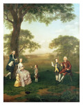 The Clavey Family in their Garden at Hampstead Giclee Print by Arthur Devis