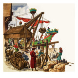 The Wonderful Story of Britain: Early Ships and Sea-Ports Giclee Print by Peter Jackson