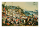 A Village Kermesse and Peasants Dancing Round a Maypole Impression giclée par Pieter Brueghel the Younger