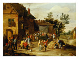 Wedding Feast in the Courtyard of a Village Inn Giclee Print by Jan Van, The Elder Kessel