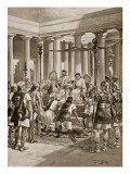 The Groans of the Britons', Illustration from 'The History of the Nation' Giclee Print by Henry Payne