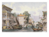 Scene on the Horan Canal Near Canton, C.1850 Giclee Print by Thomas Allom
