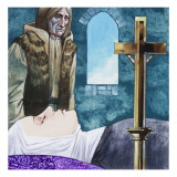 Sir Lancelot Arrives at the Nunnery to Find Queen Guinivere Has Already Died, 1972 Giclee Print by Richard Hook