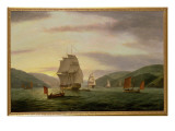 A Frigate, a Lugger and Merchant Ship in Dartmouth Harbour, 1808 Giclee Print by Thomas Luny
