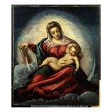 The Madonna and Child in a Mandorla on a Crescent Moon and Clouds, with the Book of Wisdom Giclee Print by Jacopo Robusti Tintoretto