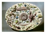 Rustique Figuline' Dish with a White Background Giclee Print by Bernard Palissy