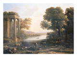 Claude Lorrain - A Pastoral Landscape with Ruined Temple, C.1638 - Giclee Baskı