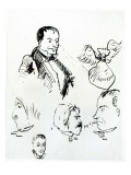Three Self Portraits and Profiles of Jules Champfleury Giclee Print by Charles Pierre Baudelaire