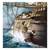 Peter Pan Climbing Aboard, Illustration from &#39;Peter Pan&#39; by J.M. Barrie Giclee Print by Nadir Quinto